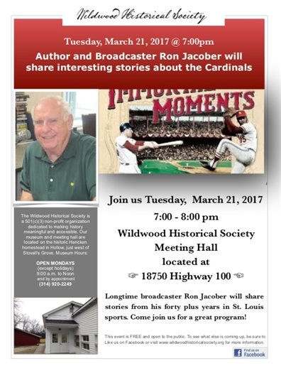 Wildwood Historical Society - Ron Jacober Speaking about St. Louis Cardinals