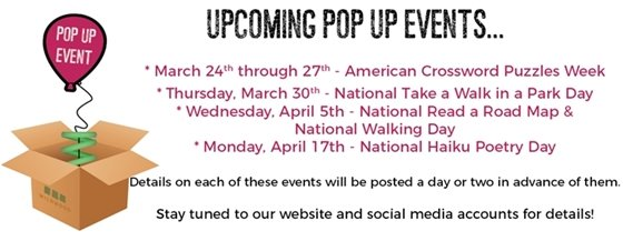 Upcoming Wildwood Pop Up Events for March- April 2017