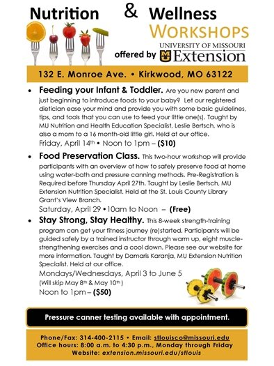 University of Missouri Extension - Nutrition and Wellness Workshops
