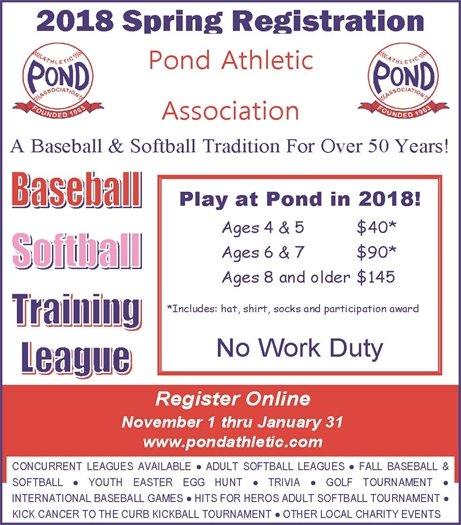 2018 Spring Registration Drive - Pond Athletic Assocation
