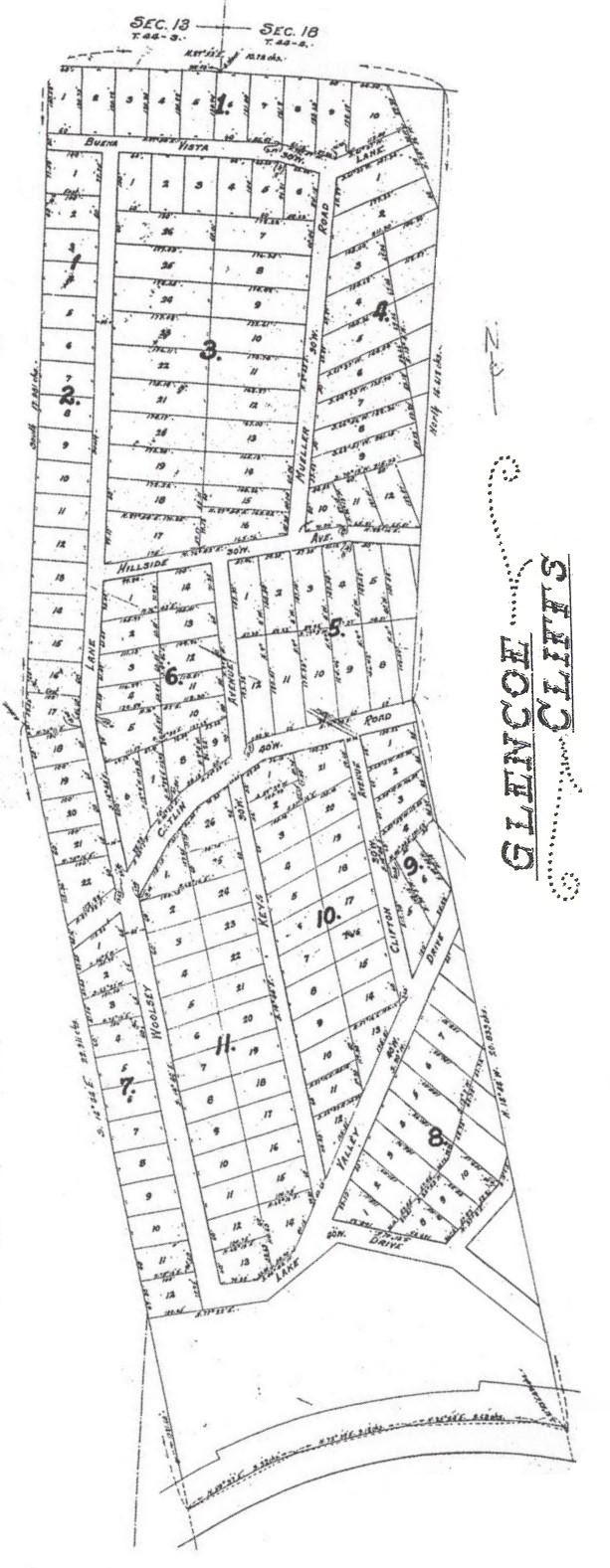 Image of Historic Map of Glencoe Cliffs Subdivision